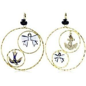 Betsey Johnson Hoop Earrings Sailor Anchor Bird